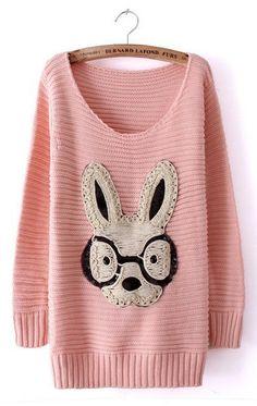 Pink Long Sleeve Rabbit Embellished Pullovers Sweater - Sheinside.com