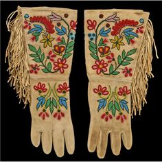 """Plateau Indian Beaded Gauntlets -Plateau Indian Beaded Gauntlets. 16 1/2"""" long. Floral beadwork on both sides. Highly unusual. Large size."""