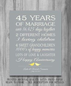 45th Wedding Anniversary Gift for Parents Sapphire Anniversary ...