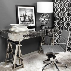 Create a home office with first class style using our new aeronautical-inspired Flight Desk. Complete the look with our grey Malcolm Office Chair, Pinnacle Table Lamp, Venice Dream 2 framed print and grey Bogota Panels.