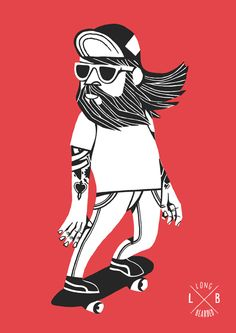 Skate + Illustration  ...  Hipsters...