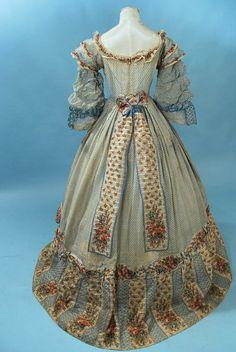 1860's sheer print dress
