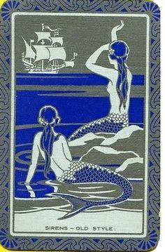 "ENN English art deco mermaids named ""Sirens Old Style"""