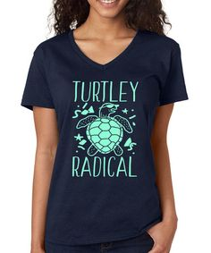 Another great find on #zulily! Navy 'Turtley Radical' V-Neck Tee - Plus #zulilyfinds