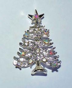 2603~Vintage Silvertone Clear & AB Rhinestone Figural Christmas Tree Pin Brooch*