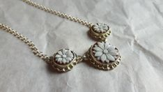 Silver cameo necklace handmade shell floral cameos by Donadiocameo