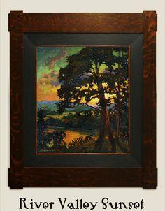 "Jan Schmuckal   Original Oil on Canvas   ""River Valley Sunset""   Tonalism   Impressionism   Dard Hunter Studio Frame   Arts and Crafts   Craftsman   Bungalow"