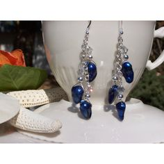 Cobalt Blue Baroque Pearl Earrings,Freshwater Pearl Earrings,... ($27) via Polyvore featuring jewelry, earrings, dangle earrings, freshwater pearl earrings, cobalt blue earrings, cultured pearl earrings and freshwater pearl dangle earrings