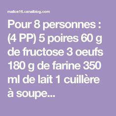 Pour 8 personnes : (4 PP) 5 poires 60 g de fructose 3 oeufs 180 g de farine 350 ml de lait 1 cuillère à soupe...