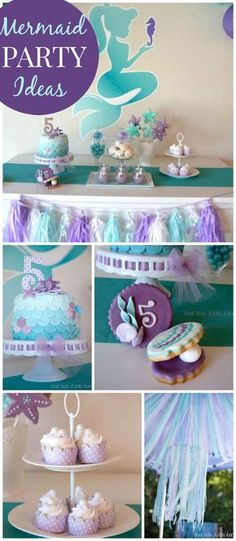 A mermaid birthday party in aqua, blue and purple with shells, tulle and a ribbon chandelier!  See more party planning ideas at CatchMyParty.com!