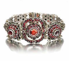 Antique Victorian Austro Hungarian Garnet Bracelet Sterling Silver Wide Gemstone Links 1800s