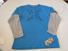 Boy's Youth Hurley XL T shirt L/S surf skate Neptune Blue logo TEE NEW 14764291