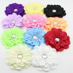 Children Fabric peony Flower+ acrylic rhinestone for Toddler Infant Baby Headband DIY hair accessories