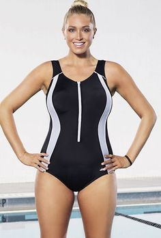 Xtra Life Lycra Aquabelle Black Zip Front Swimsuit