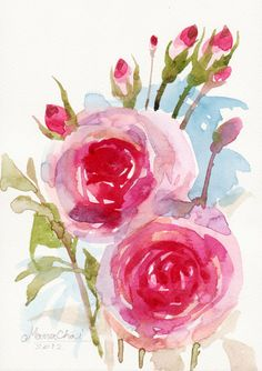 BEAUTIFUL WATERCOLOR FLOWER Original Art for sale On by sabaiover, $20.00