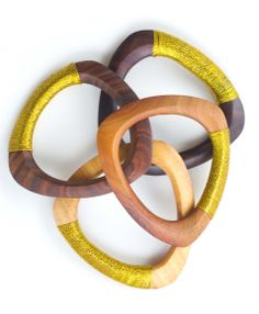 Stack them high or pair with another bright #bangle. Our Exotic Wood Bangles are hand carved in Guatemala and wrapped in luscious #gold thread.