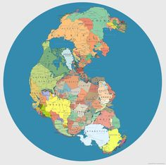 Pangea with current country borders