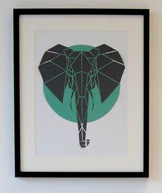 Origami Elephant Art, Handmade Art on Canvas Board, Geometric Art, Nursery Art, Contemporary Stencil Art on Etsy, $55.65 CAD