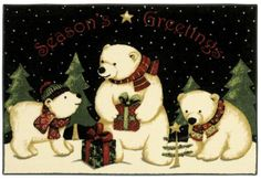 Holiday Collection Polar Bears 3P173 - Shaw Area Rug Georgia Carpet Industries