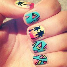 summer nails - watermelon & palm trees great nails for the summer! Great Nails, Fabulous Nails, Love Nails, Nail Art Designs, Palm Tree Nails, Cute Summer Nails, Spring Nails, Summery Nails, Nail Photos