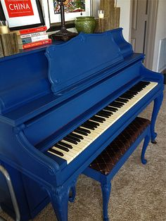 Blue Painted Piano DIY. I am going to do this.  Blue is so so brave....I will stick with boring white. Or MAYBE a dark grey. hmmmmmmm