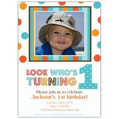 Aqua and Orange Polka Dot 1st BIrthday Invitations | PaperStyle