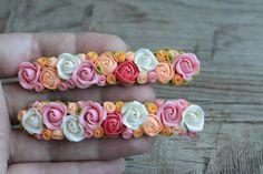 Flowers hair clip polymer clay wedding hair clip door EtenIren