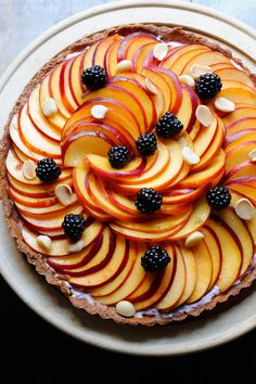 Peach blackberry tart