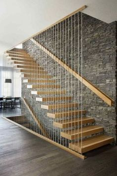 Modern Staircase Design Ideas - Search images of modern stairs as well as find design as well as format ideas to influence your own modern staircase remodel, including unique railings and also storage space . Modern Stair Railing, Stair Railing Design, Stair Decor, Staircase Railings, Staircase Ideas, Modern Stairs Design, Staircases, Cantilever Stairs, Railing Ideas