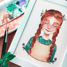 Cute Girl Illustration, Gilbert And Anne, Anne White, Anne Shirley, Anne Of Green Gables, Colorful Drawings, Crayon, Drawing People, Cartoon Art