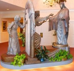 "The ""Come Unto Me"" bronze sculpture was unveiled in 2000, and stands in the grand foyer of the Spilsbury Mortuary in St. George, Utah. It has become a scenic attraction and great spiritual comfort to countless families at a sad time in their lives."