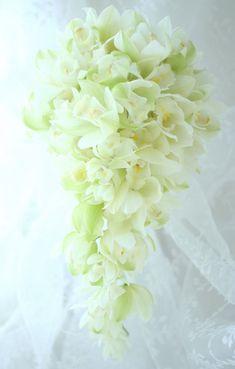ブーケ キャスケード シンビジューム : 一会 ウエディングの花