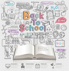 Back to school Idee Doodles Symbole und offenes Buch. Vektor-Illustration. Kann f�r Workflow-Layout, Diagramm, Anzahl Optionen verwendet werden, step up Optionen, Web-Design, Banner-Vorlage, Infografiken. photo