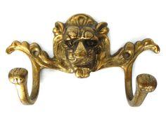 1 ONE Wall hook Brass Lion Head Coat hook by HooksAndHardware