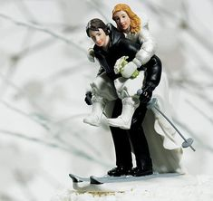 Winter Skiing Wedding Couple Cake Top from TheWeddingOutlet.com