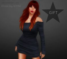 Free SL Nyne Shoulder Dress Second Life Freebies. The shoulder dress I am wearing on this photo is a free group gift from NYNE. It is fitmesh ..