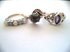 Lot-of-three-rings-sterling-silver-size-5-purple-stone-pretty-vintage-rings