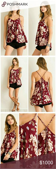 Floral Printed Top Floral Printed ruffled spaghetti strap v-neck A-line top featuring back strap tie. Non sheer. Unlined. Woven. Lightweight.  Fabric: 100% Rayon Tops Tank Tops