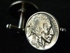 Handmade Cuff link Authentic Vintage Buffalo Indian Head Nickel coin cuff links  #Handmade