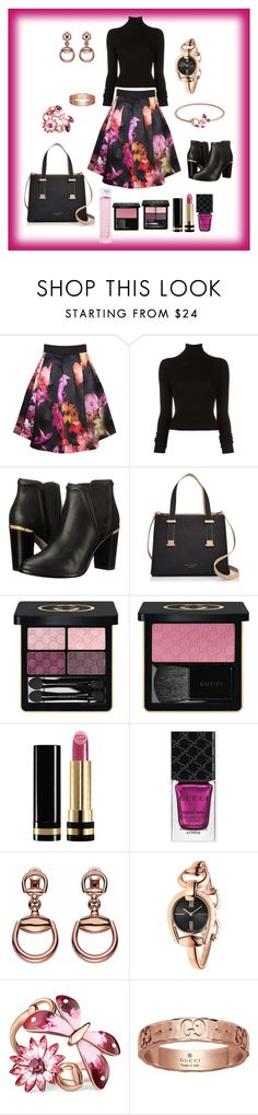 """Floral Ted Baker with a hint of Gucci"" by soniauk ❤ liked on Polyvore featuring Ted Baker, BLK DNM and Gucci"