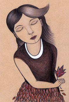 """""""herbstkleid"""" von finkpink . autumn dress . buntstifte auf braunem papier"""