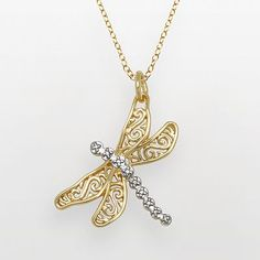 18k Gold Over Bronze and Silver Plate Diamond Accent Dragonfly Pendant
