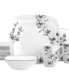 Corelle Casual Dinnerware, Favourite Fleur 16 Piece Set - comes with 4 dinner plates, 4 salad plates, 4 mugs and 4 bowls and is off. Plastic Dinnerware, Ceramic Tableware, Sango Dinnerware, Corelle Dishes, Corelle Sets, Corelle Ware, Corelle Plates, Corelle Patterns, Casual Dinnerware Sets
