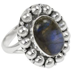 Labradorite 925 Sterling Silver Ring Jewelry Size- 7 SR-2064 #Allisonsilverco