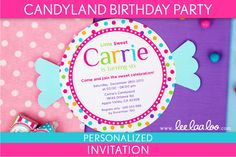 Candyland Birthday Party Invitation Personalized por LeeLaaLoo, $12.00