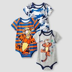 Disney Tigger Baby Boys' 3 Piece Bodysuit Set - Orange Infant Boy's, Size: M Disney Baby Clothes, Baby Doll Clothes, Baby Disney, Cute Outfits For Kids, Baby Boy Outfits, Cute Babies, Baby Kids, Gender Neutral Baby Clothes, Baby Shirts