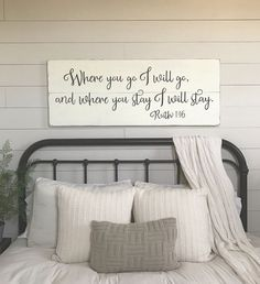 Lovely Bedroom Wall Decor | Where You Go I Will Go | Wood Signs | Bedroom Sign