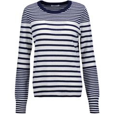 Equipment Shane striped cashmere sweater (495 BRL) ❤ liked on Polyvore featuring tops, sweaters, navy, navy sweater, pure cashmere sweaters, navy cashmere sweater, loose sweater and navy blue sweater