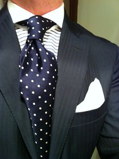 Blue Herringbone Suit by Ralph Lauren, MTM Blue Horizontal Striped Shirt by Emanuel Berg, Purple Label Tie & Charvet Square