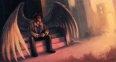Castiel waiting for dean in purgatory stairs supernatural